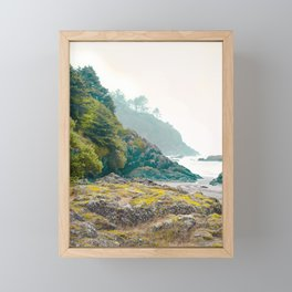 Misty Northwest Coastline Pacific Ocean Beach Nautical Decor PNW Art Beards Hollow Framed Mini Art Print