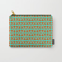 Turquoise Cool Mint Green and Red Clay Diamond Tags Flowing Flags Southwestern Design Pattern Carry-All Pouch