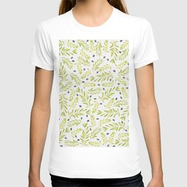 Watercolor Olive Branches Pattern T-shirt