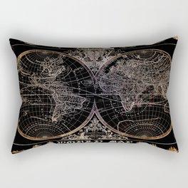 world map old vintage black Rectangular Pillow