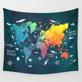 Ocean World Map color #map #worldmap Wall Tapestry