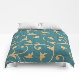 Baroque Design – Gold on Teal Comforters