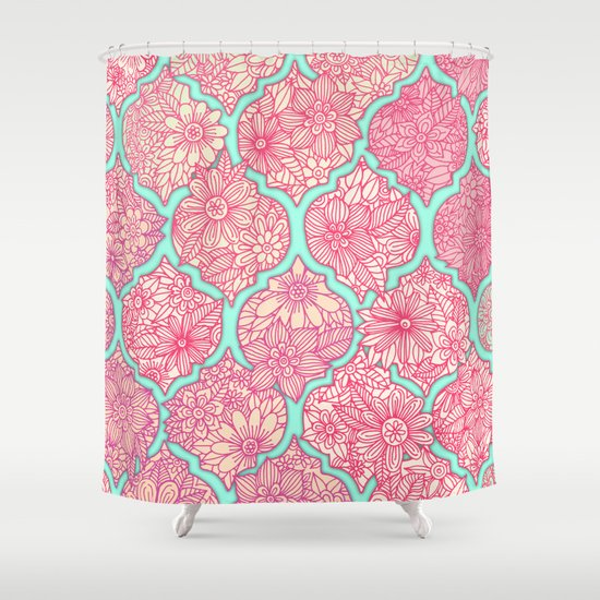 Moroccan Floral Lattice Arrangement in Pinks Shower Curtain