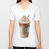 starbucks V-neck T-shirts featuring Starbucks clean by Amit Naftali