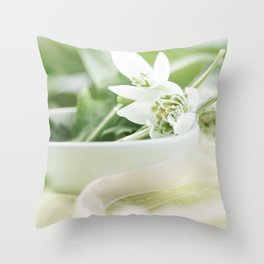 Spring made of dreams with snowdrops and Porzellan Throw Pillow