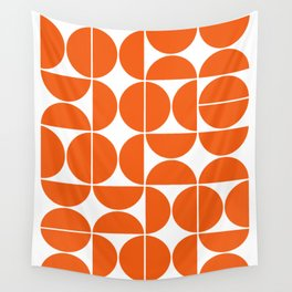 Mid Century Modern Geometric 04 Orange Wall Tapestry