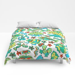 A pattern of fancy bizarre sea creatures. Style Doodle. Vector illustration. Comforters