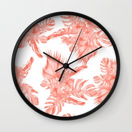 Tropical Palm Leaves Hibiscus Flowers Deep Coral Wall Clock