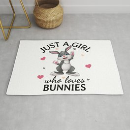 Just a Girl Who Loves bunnies, easter bunny gift Rug