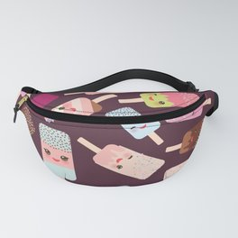 summer ice cream, ice lolly  Kawaii with pink cheeks and winking eyes Fanny Pack