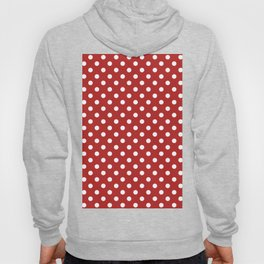 Small Polka Dots - White on Firebrick Red Hoody