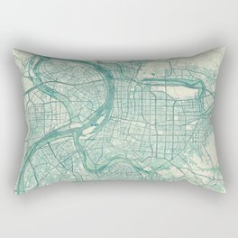 Taipei Map Blue Vintage Rectangular Pillow