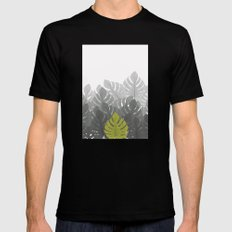Tropical leaves 03 Black MEDIUM Mens Fitted Tee