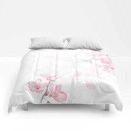 pink cherry blossom macro 2018 Comforters