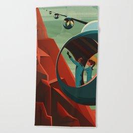 THE VOLCANO OF MARS - Olympus Mons   Space   X   Retro   Vintage   Futurism   Sci-Fi Beach Towel