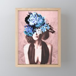 Floral Woman Vintage Blue and Pink Rose Gold Framed Mini Art Print