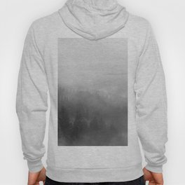Foggy Forest on a Mountain (Black and White) Hoody