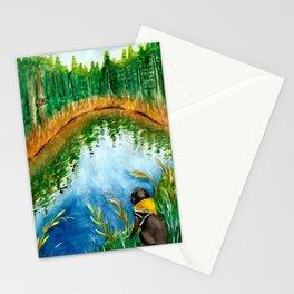 Black Labrador Retriever & Lake Watercolor Stationery Cards