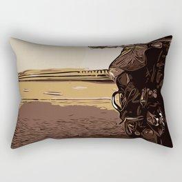 The motorcyclist, a biker on the road. Rectangular Pillow