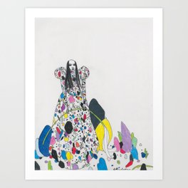 Untitled Queen Wearing Paper Betty Rubble Dress Art Print