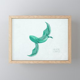 Blue whale with wings Framed Mini Art Print