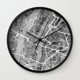 New York City Street Map Wall Clock