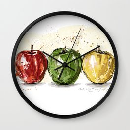 3 apples Wall Clock