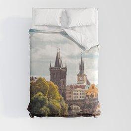 Historic Charles Bridge Vltava River Prague Amazing Cityscape Czech Republic Europe Ultra HD Comforters