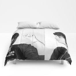 Jane Fonda Mug Shot Horizontal Comforters