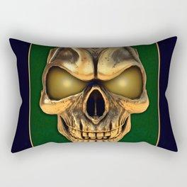 Skull with glowing golden eyes Rectangular Pillow