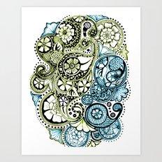 Blue Lime Paisley Art Print