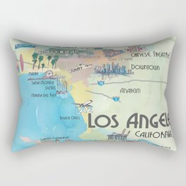Greater Los Angeles Fine Art Print Retro Vintage Map with Touristic Highlights in colorful retro pri Rectangular Pillow
