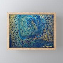 Blue and Gold Spiral Art Framed Mini Art Print