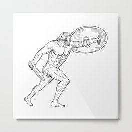Heracles With Shield and Sword Drawing Black and White Metal Print