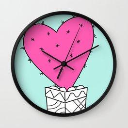 pink valentine cactus-heart Wall Clock