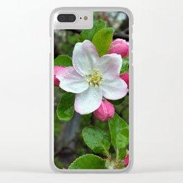 Rain drops on little flower Clear iPhone Case