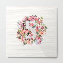 Initial Letter S Watercolor Flower Metal Print
