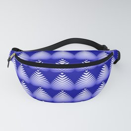 Pattern of white hearts and blue flowers on the sea background. Fanny Pack