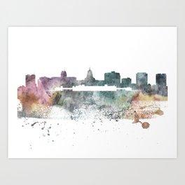 Madison, Wisconsin Nature Pastels Skyline Art Print