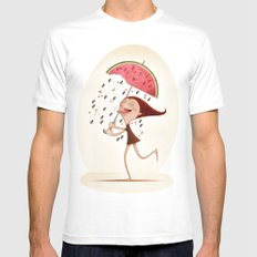 Watermelon White MEDIUM Mens Fitted Tee
