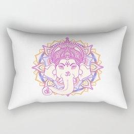 Ganesha elephant god on hand painted mandala Rectangular Pillow