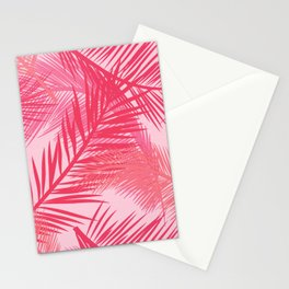 Palm Leaf Print, Coral, Peach and Pastel Pink Stationery Cards