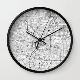 Vintage Map of San Antonio Texas (1953) BW Wall Clock