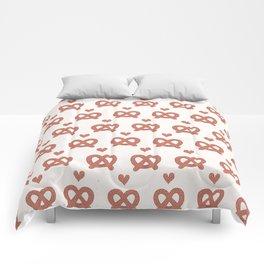 Cute vector pretzel cartoon with smiling face Comforters