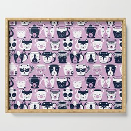 Cuddly Tea Time // white navy & light orchid pink animal mugs Serving Tray