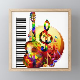 Colorful  music instruments painting, guitar, treble clef, piano, musical notes, flying birds Framed Mini Art Print