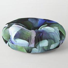 blue hydrangea Floor Pillow