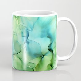 Blue Green Spring Marble Abstract Ink Painting Coffee Mug