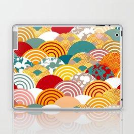 Nature background with japanese sakura flower, orange red pink Cherry, wave circle pattern Laptop & iPad Skin