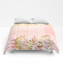 Orchid pink - golden rainforest Comforters